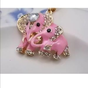 Crystal Pink Elephants Necklace